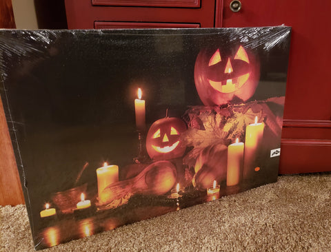 Canvas Pumpkin Art Picture-Decor