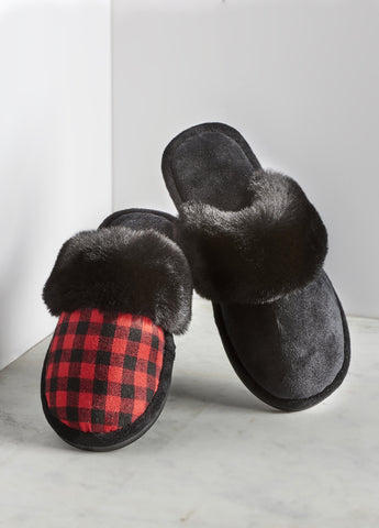 Plaid & Fur Slippers