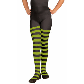 Tights in Green & Black Stripes-Child