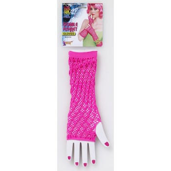 Fingerless Double Fishnet Gloves-Pink
