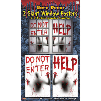 BLOODY WINDOW POSTERS-2PCS