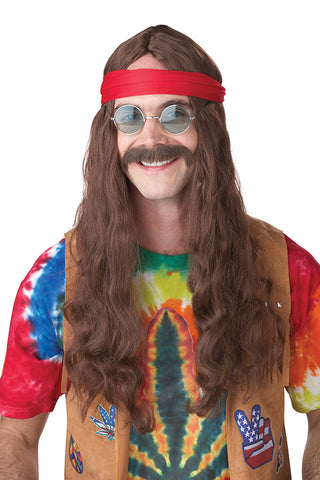 Hippie Man Wig & Moustache