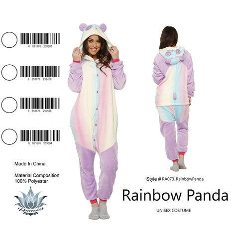 Onesie Rainbow Panda-Adult Costume