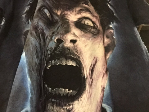 T-Shirt Scary Zombie Face-Adult