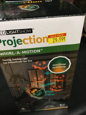 Lightshow Projection-Whirl-a-Motion-Happy Halloween JOL(Green/Orange)