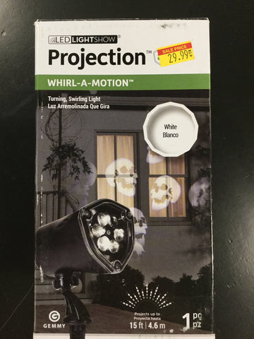 Lightshow Projection-Whirl-a-Motion-Scary Skulls (White)