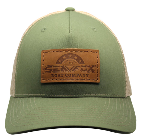 Olive/Khaki Leather Patch Hat