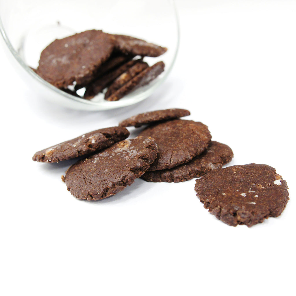 Vegan + Gluten Free Olive Oil Sea Salt Double Choc Cookies