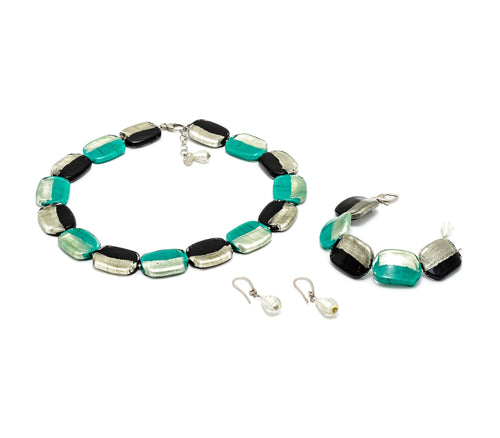 HILLARY - Murano Glass Three-Piece Necklace, Earrings and Bracelet Set