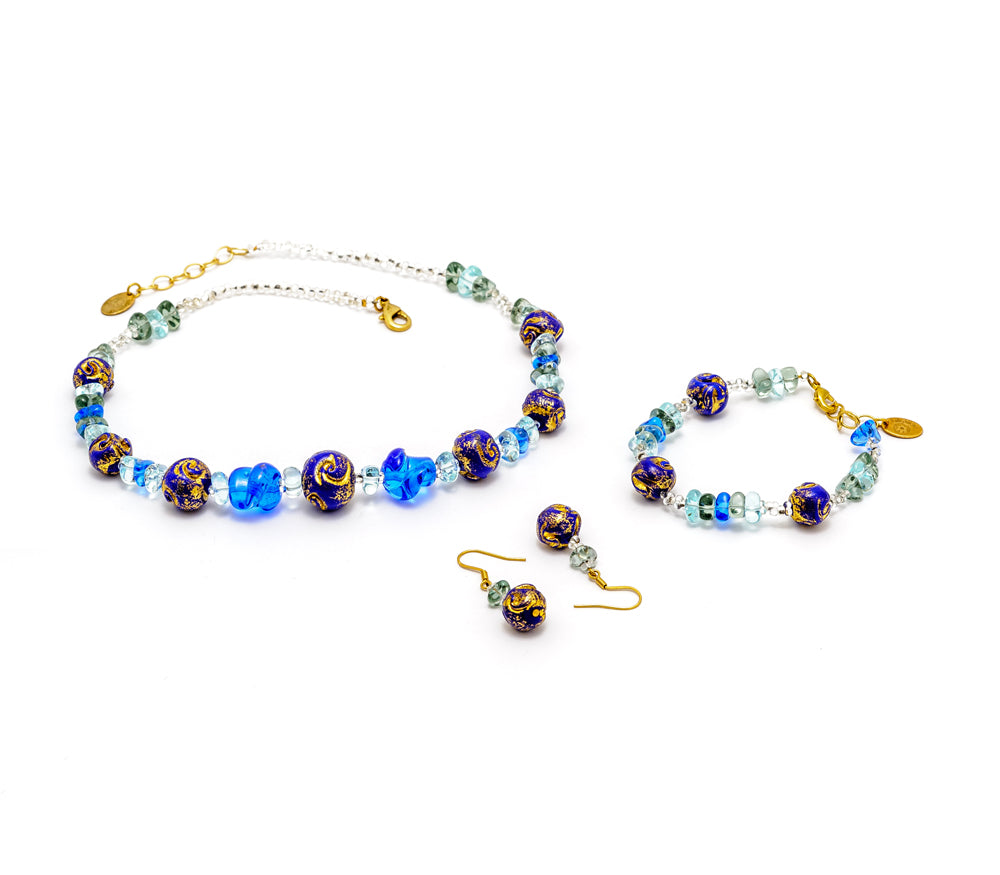 ALKA - Murano Glass Three-Piece Necklace, Earrings and Bangle Set