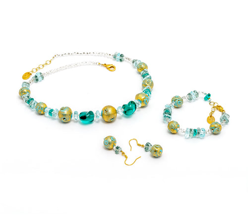 ALKA - Murano Glass Three-Piece Necklace, Earrings and Bracelet Set