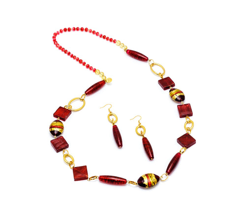 AGATA - Murano Glass Two-Piece Necklace and Earrings Set