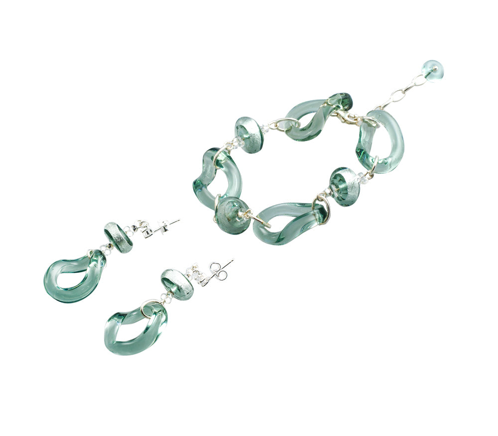 EDINA - Sterling Silver Murano Glass Two Piece Jewelry Set