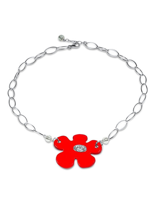 FLORIS - Sterling Silver Murano Glass Choker Style Statement Necklace