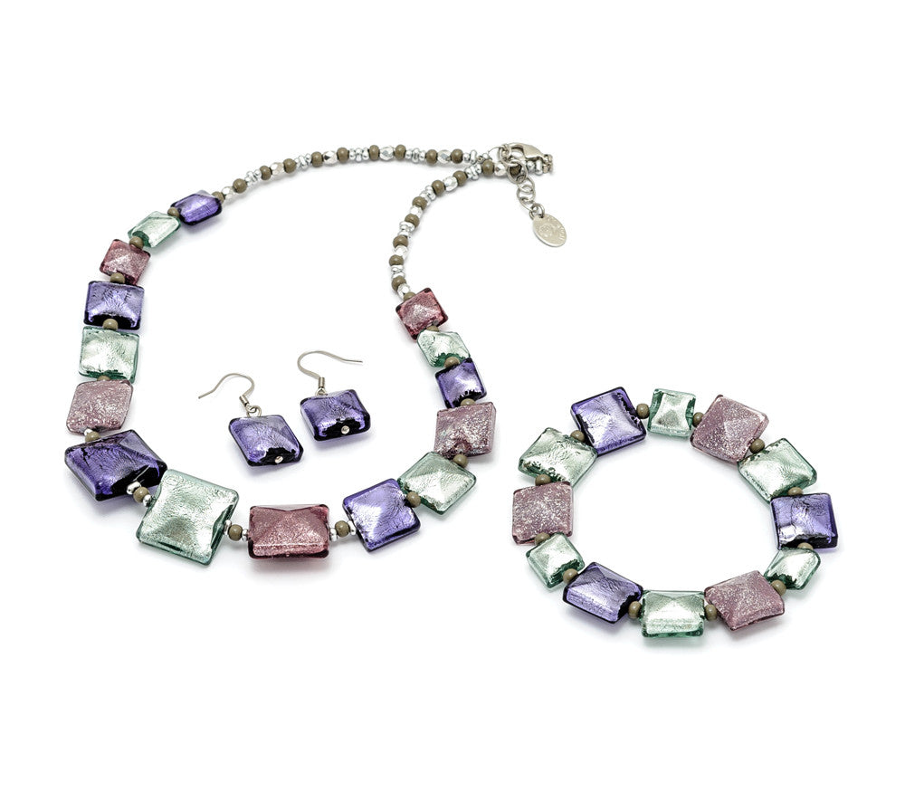 Heaven - Murano glass necklace, earring and bracelet set