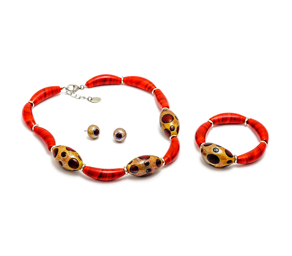 LATOYA - Bold Handmade Murano Glass Three Piece Jewelry Set Red