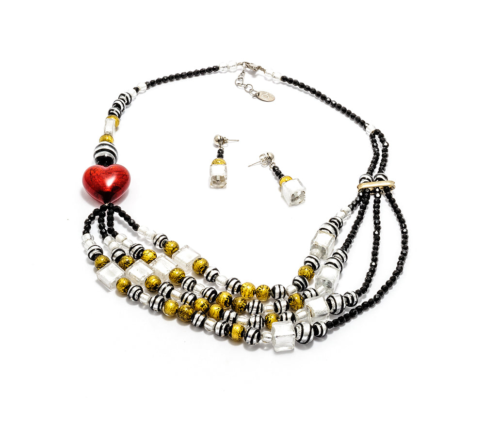 MALLY - Murano Glass Two-Piece Necklace and Earrings Set