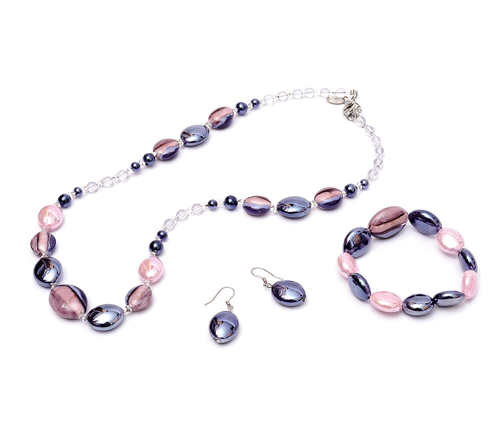 NASTASIA - Murano Glass Three-Piece Necklace, Bracelet and Earrings Set