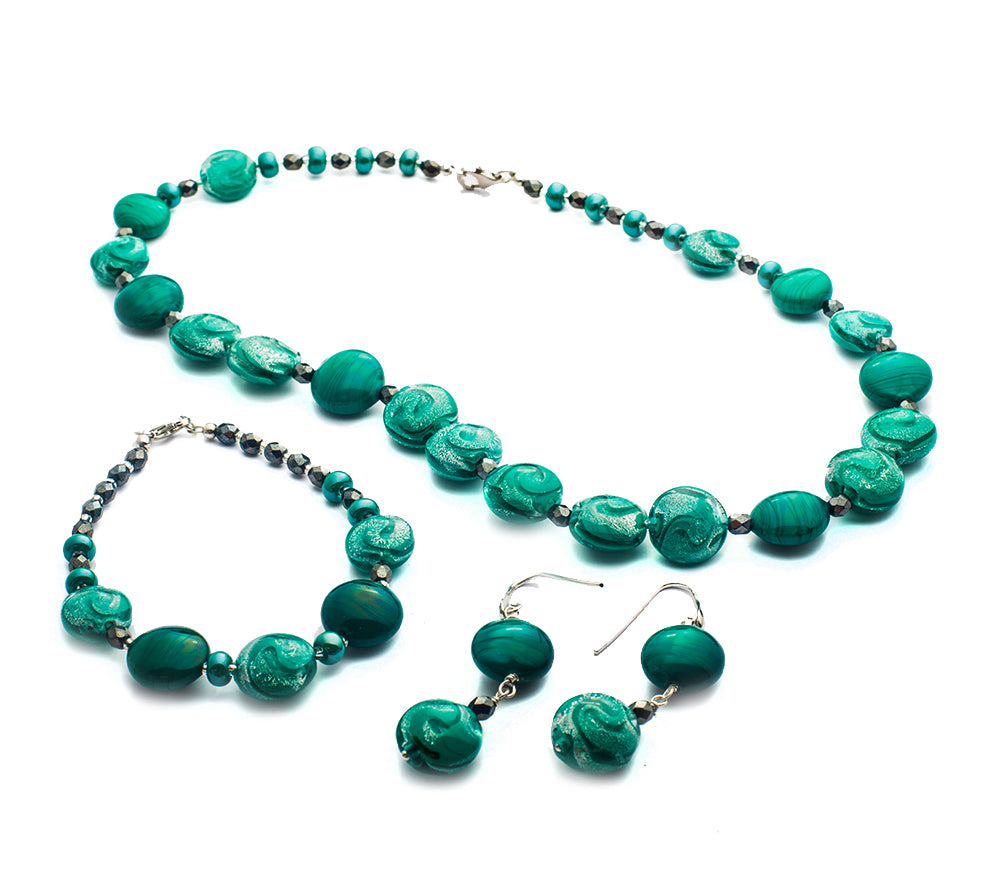 RIVIERA - Murano Glass Three-Piece Princess Necklace, Bracelet and Earrings Set in Green