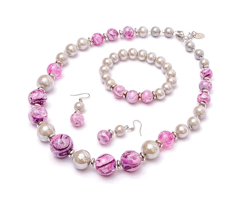 TALIANA - Murano Glass Three-Piece Princess Necklace, Bracelet and Earrings Set