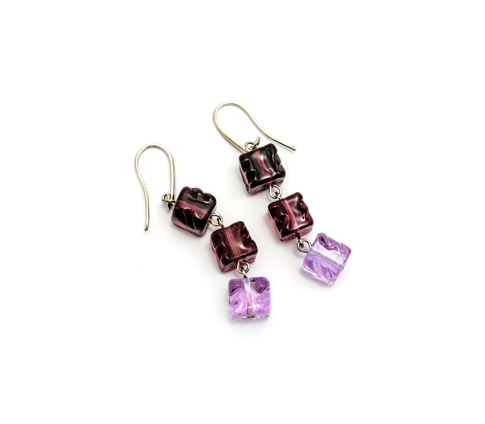 Vika - Murano Glass drop earrings with cube bead