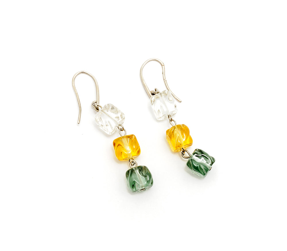 Vika - Murano Glass drop earrings with cube beads