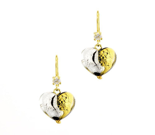CHERRY - HAND MADE MURANO GLASS STERLING SILVER EARRINGS. GOLD AND SILVER COMBINATION. CUBIC ZIRCON.