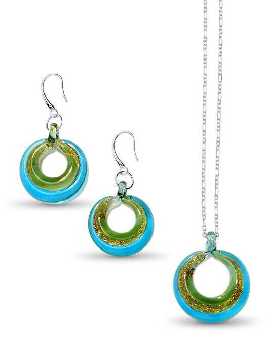 SELINA - Sterling Silver Murano Glass Two Piece Jewelry Set Turquoise