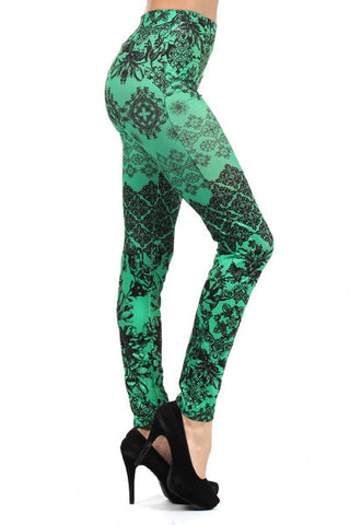 z-Green and Black Graphic Leggings