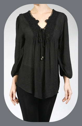 3/4 Sleeve Lace and Tie Detail Top