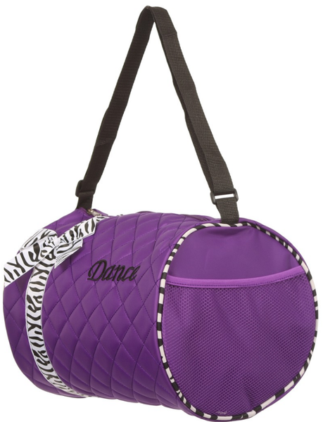 Z-Purple Duffel Bag with Zebra Print Ribbon