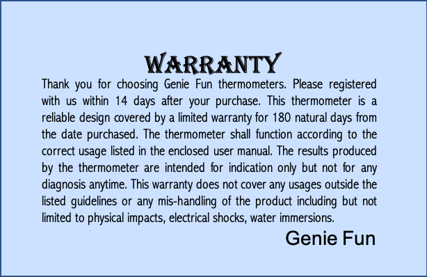 Digital Infrared Thermometer Warranty
