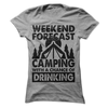 Weekend Forecast Camping With A Chance Of Drinking T Shirt - awesomethreadz