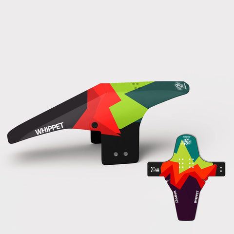 Multi coloured mountain bike bicycle front mudguard