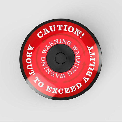Stem Cap Top Cap Bicycle Red Colour Caution About to exceed ability text in white