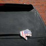 American Flag Waving Hand On Rear Of SUV