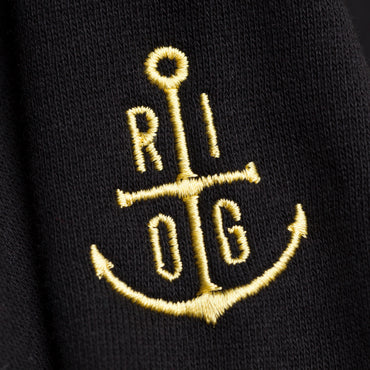Primrose Yellow Monogram on Black Hoodie