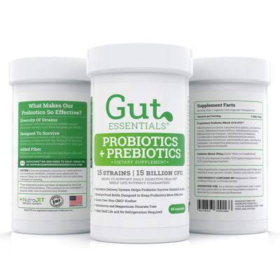 Gut Essentials Pre + Probiotics – Win The Fight Against Bloating & Digestion Problems - 15 Carefully Picked Strains – 15 Billion CFU - 60 Doses per Bottle
