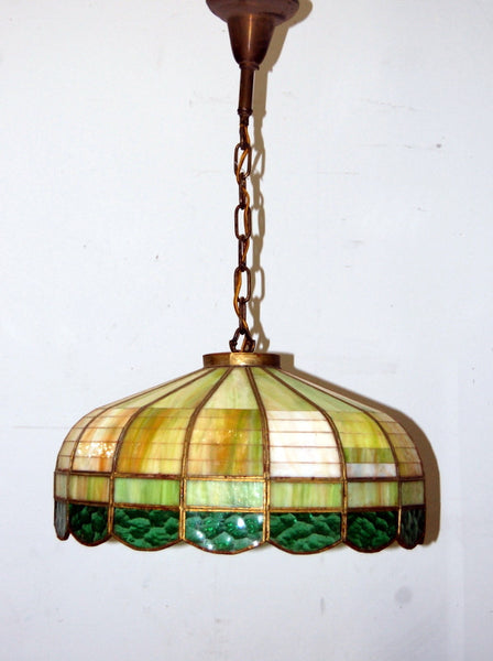 Attractive Antique 1930s Stained Glass Hanging Light Fixture, Vintage  JT78