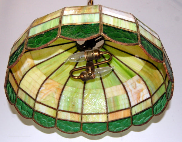 Antique 1930s Stained Glass Hanging Light Fixture Vintage Lighting Rewired