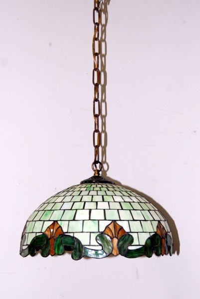 Antique 1950s stained glass hanging light fixture vintage lighting little docs architectural salvage antiques