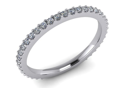 3/4 Eternity Wedding Band, Stackable Rings, 14kt White Gold