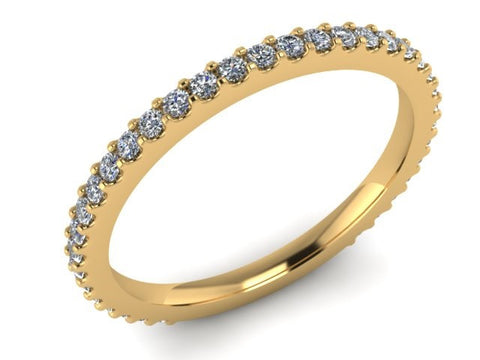 3/4 Eternity Wedding Band, Stackable Ring, 14kt Yellow Gold