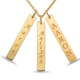 3 personalized Gold Bar Necklace, 14kt Yellow Gold