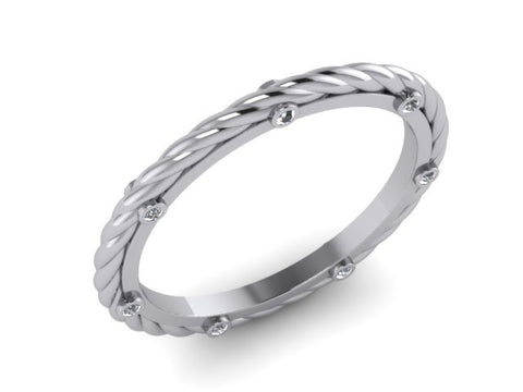 White Gold Rope Stackable Band