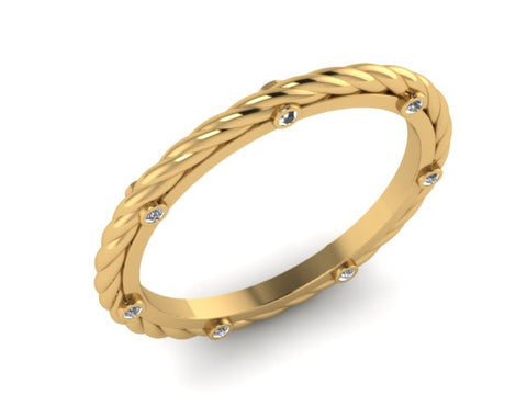 Yellow Gold Rope stackable Band