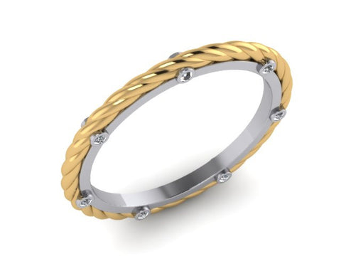 Two tone Rope Stackable Band, Yellow & White Gold
