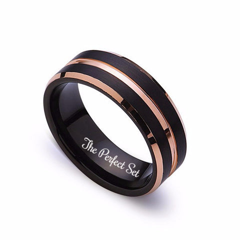Mens Tungsten Band, Rose gold