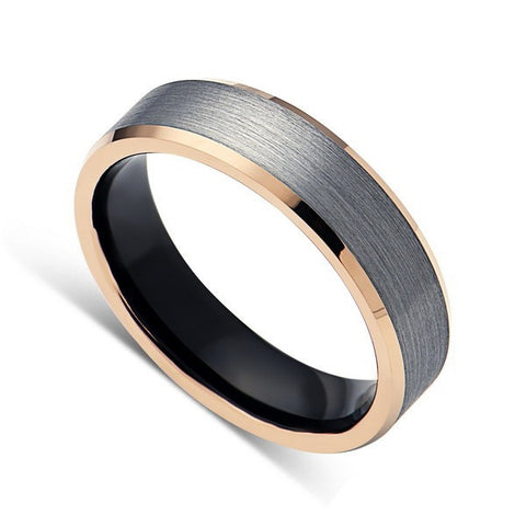 Mens Tungsten Band, Brushed Rose Gold 6mm