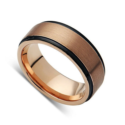Mens Tungsten Band, Rose Gold, Black